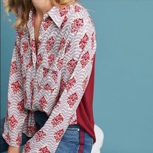 Anthropologie Porridge Pattern Red /Grey Button Up